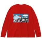 YASCORN(やすこーん)鉄道の「踊り子」185系と富士山、桜 イラスト Big silhouette long sleeve T-shirts