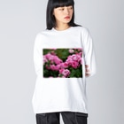 花染めの箱庭の薔薇 Big silhouette long sleeve T-shirts