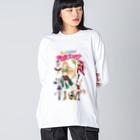 Milk☆Dipperのガールズファイター!ミルクディッパー☆06☆Hitomi Big silhouette long sleeve T-shirts