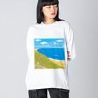 湘南デザイン室:Negishi Shigenoriの湘南ランドスケープ08:海辺のハマダイコン Big silhouette long sleeve T-shirts