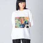 TONA1045の地球のたねたまご Big silhouette long sleeve T-shirts