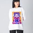 panda to kageのデコ娘 Big silhouette long sleeve T-shirts