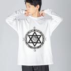 KIKITEKI_LABORATORYの魔法陣×六芒星×猫目玉 BLACK Big silhouette long sleeve T-shirts