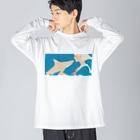 さかたようこ / サメ画家の彼女はサメが好き eye Trimming Big silhouette long sleeve T-shirts