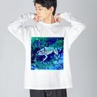 Fantastic FrogのFantastic Frog -Moonlight Version- Big silhouette long sleeve T-shirts