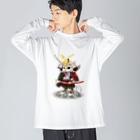 ねこや久鶻堂の源平戯画 : 源義経 Big silhouette long sleeve T-shirts