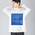 はるしぴのgame night Big silhouette long sleeve T-shirts