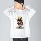ねこや久鶻堂の源平戯画 : 佐藤継信 Big silhouette long sleeve T-shirts