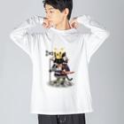ねこや久鶻堂の源平戯画 : 佐藤忠信 Big silhouette long sleeve T-shirts