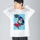 Miku Corporation  Gallery星猫の仲良し2にゃん💙🍓苺柄タンクトップでおめかし✨ Big silhouette long sleeve T-shirts