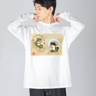 ねこや久鶻堂の風猫雷猫図屏風 Big silhouette long sleeve T-shirts