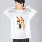 mofusandのダブルえび天にゃん Big silhouette long sleeve T-shirts