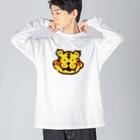 点心夫婦商店のかわいいトラ Big silhouette long sleeve T-shirts