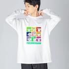 POISONCHARM電脳露店2号のアオヤギさん百面相 Big silhouette long sleeve T-shirts