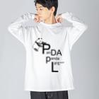 PANDA panda LIFE***の文字を運ぶパンダ Big silhouette long sleeve T-shirts