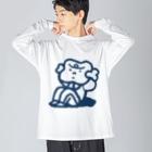 点心夫婦商店の腹筋するマンガ肉(シンプル) Big silhouette long sleeve T-shirts