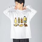 点心夫婦商店の脂質を多く含む食品 Big silhouette long sleeve T-shirts