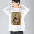 nature boxのモリフクロウ Big silhouette long sleeve T-shirts