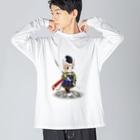 ねこや久鶻堂の源平戯画 : 伊勢義盛 Big silhouette long sleeve T-shirts