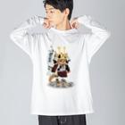 ねこや久鶻堂の源平戯画 : 源義朝 Big silhouette long sleeve T-shirts