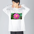 namaste99の蓮の花 Big silhouette long sleeve T-shirts