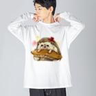 トロ箱戦隊本部のナミハリネズミ Big silhouette long sleeve T-shirts