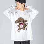 桃星雲 〜小桜みみなのお店〜の踊る犬 Big silhouette long sleeve T-shirts