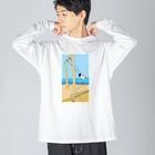 T4&R3のブランコにのる女の子 Big silhouette long sleeve T-shirts