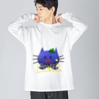 dream skyのパワにゃん「ブルーキャットシリーズ」 Big silhouette long sleeve T-shirts