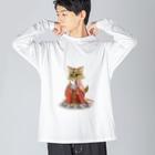 ねこや久鶻堂の源平戯画 : 常盤御前 Big silhouette long sleeve T-shirts