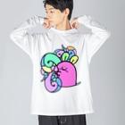 とてもえらい本店のサイケデリックまうす。 Big silhouette long sleeve T-shirts