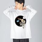 有明ガタァ商会の月百姿空潟(お猿のくぅ) Big silhouette long sleeve T-shirts