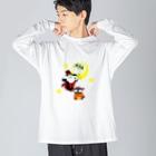 POISONCHARM電脳露店2号のアオヤギミヤギハロウィン Big silhouette long sleeve T-shirts