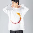 さかたようこ / サメ画家の飛び出すSAME BASS Big silhouette long sleeve T-shirts