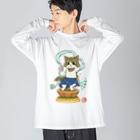 ねこや久鶻堂の金剛猫士像 Big silhouette long sleeve T-shirts
