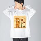 :trunk:chiyo のクマちゃんとチューリップ Big silhouette long sleeve T-shirts