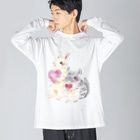 しず華*(カラー・リボンボン)のきゅんきゅん Big silhouette long sleeve T-shirts