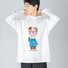 よシまるシンの架空似顔絵図人間9.1 Big silhouette long sleeve T-shirts
