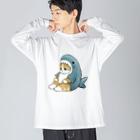 mofusandのサメにゃん Big silhouette long sleeve T-shirts