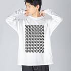 アオフジマキのモダンパターン Big silhouette long sleeve T-shirts