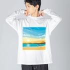 湘南デザイン室:Negishi Shigenoriの湘南ランドスケープ02:ひこうき雲 Big silhouette long sleeve T-shirts