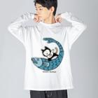 ほっかむねこ屋のなみのりねこ Big silhouette long sleeve T-shirts