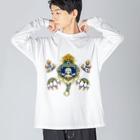 TKAKURAKAZUKI_PRINTOUTの准胝観音 Big silhouette long sleeve T-shirts