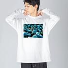 アオフジマキのアジサイ Big silhouette long sleeve T-shirts