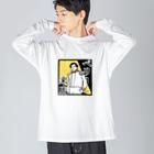 かえるのてぶくろのペリー来店 Big silhouette long sleeve T-shirts