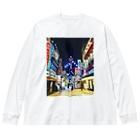 マッキーの新世界の街 Big silhouette long sleeve T-shirts