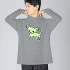 akane_artのゆるチワワ(グリーン) Big silhouette long sleeve T-shirts