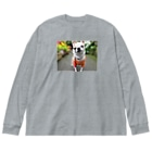 akane_artのカラフルチワワ(フラワー) Big silhouette long sleeve T-shirts