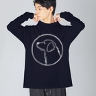 aya1のゴールデン・レトリーバー〈白線・円〉 Big silhouette long sleeve T-shirts