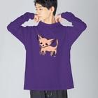 akane_artのゆるチワワ(オレンジ) Big silhouette long sleeve T-shirts